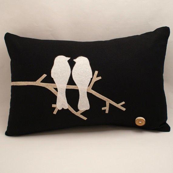 felt love birds cushion cover