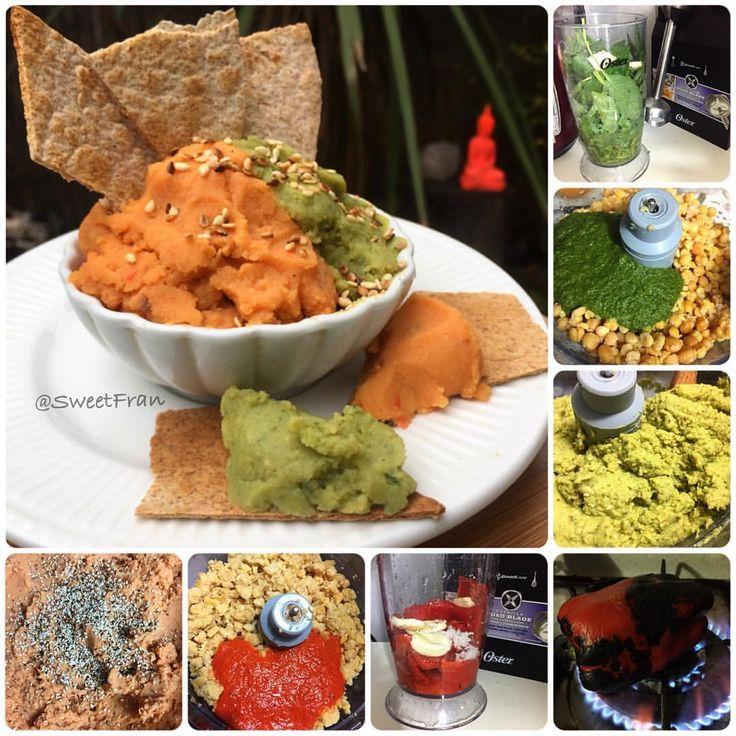Hummus verde y de pimentón