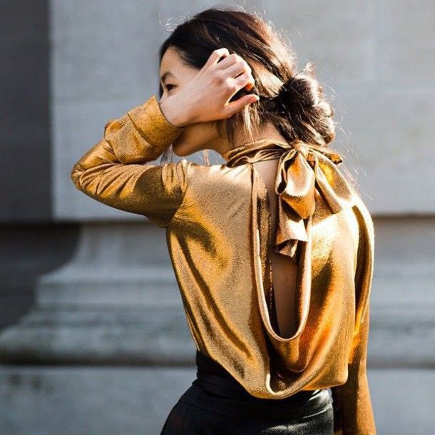 Blouse: metallic tumblr gold bow long sleeves open back backless backless top satin shirt holiday