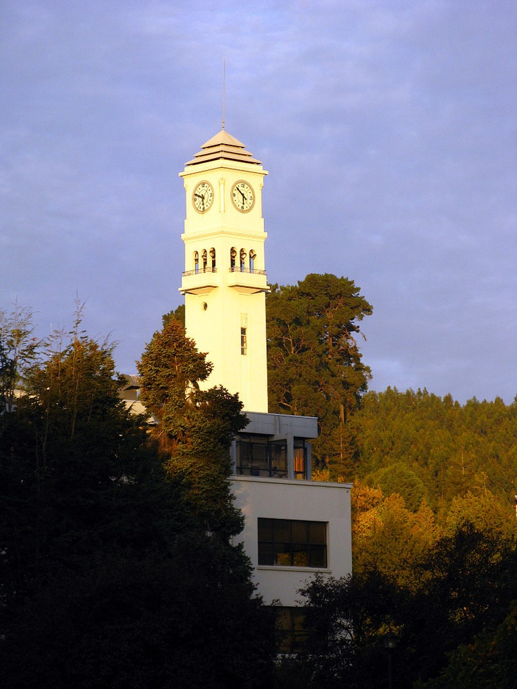 The famous Clock Tower, or Campanil, a symbol of the University of Concepcion, Chile. A scene on campus