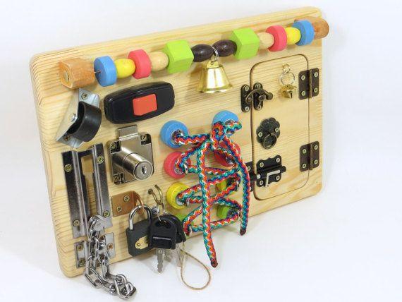 Busy board Activity board Sensory board by LinearaHandMade on Etsy