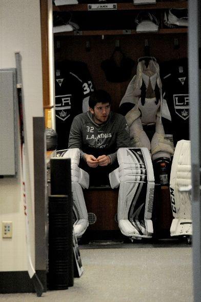 Jonathan Quick sits in his locker
