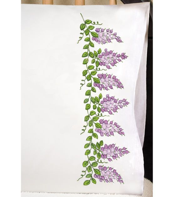 "Stamped Pillowcase Pair 20""X30"" For Embroidery-Wisteria"