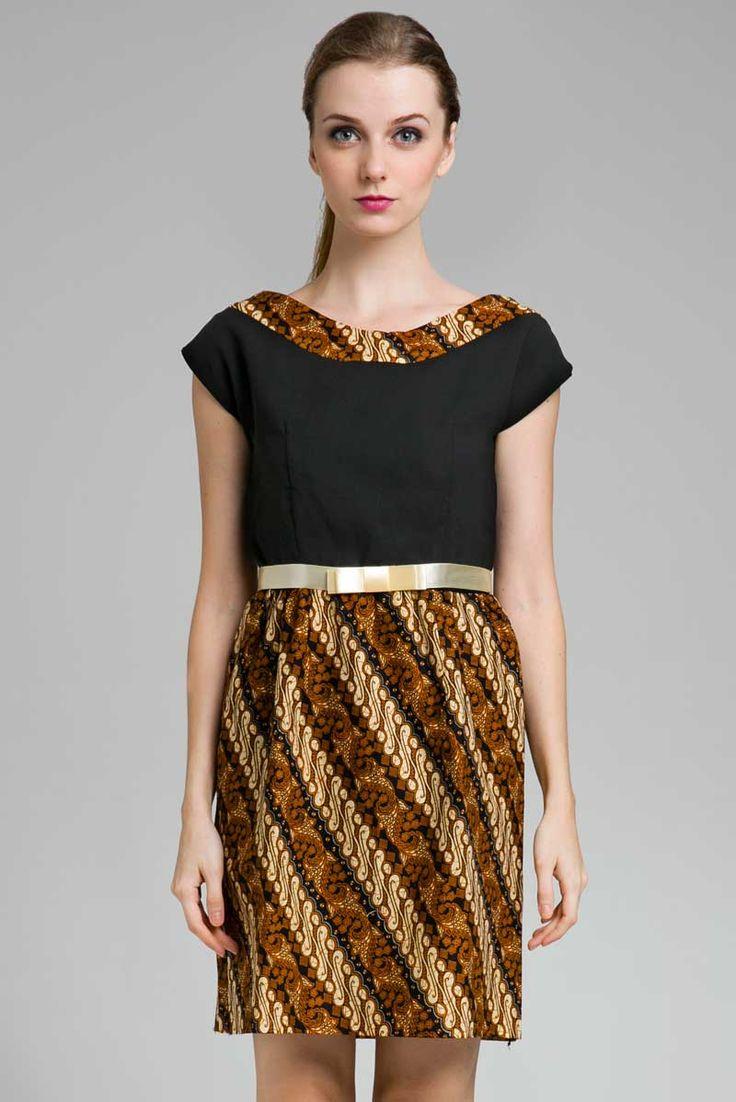 Batik dress   panel Dress   Boat neck   bows