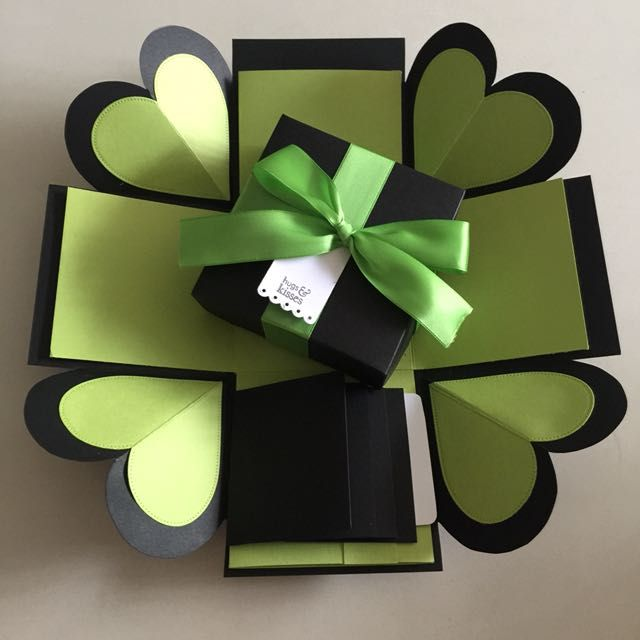 """Buy Diy Explosion Box With 4 waterfall in black & green in Singapore,Singapore. ----------- Info ------------- Size: 4x4"""" Explosion box card with - 2 layers, - 4 heart flaps ribbon and tag - 4 waterfall Email mayling77@gmail.com or W Chat to Buy"""