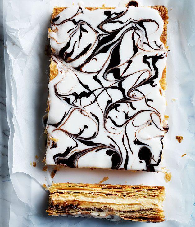 We've coated our creamy hazelnut custard slice in a crunchy chocolate-coffee icing.