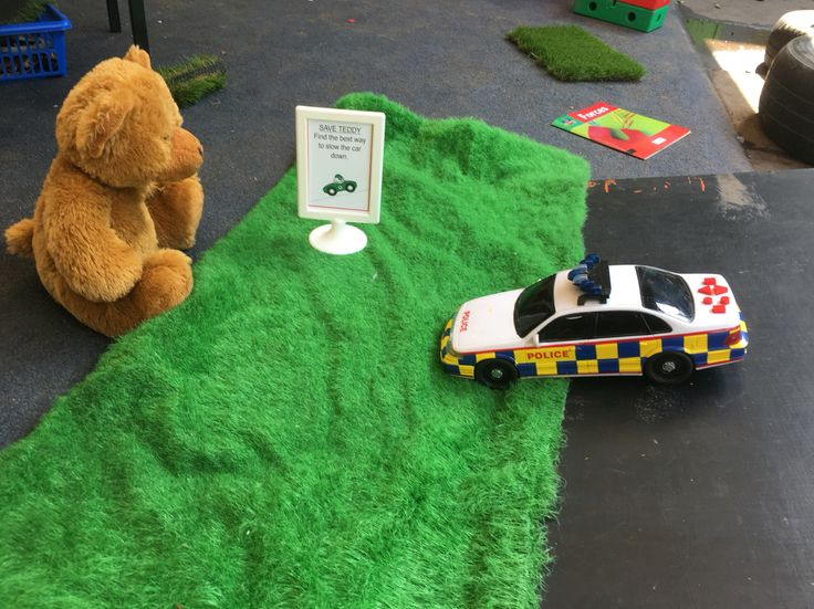 Continuous provision challenge. Understanding the world. Stem activity. The children had to use various materials to try and slow down the police car, to stop it knocking over teddy