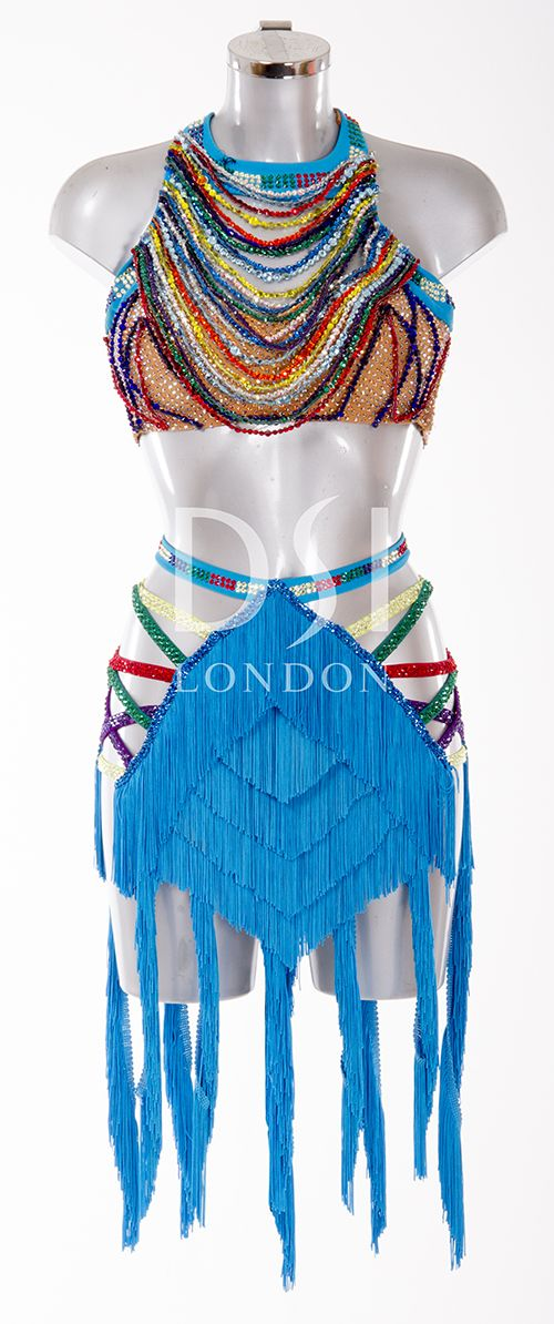 Turquoise Latin Dress as worn by Ola Jordan on Strictly Come Dancing 2014. Designed by Vicky Gill and produced by DSI London