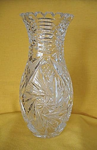 Crystal Cut Glass Vase With Pinwheel Design Antique Cut