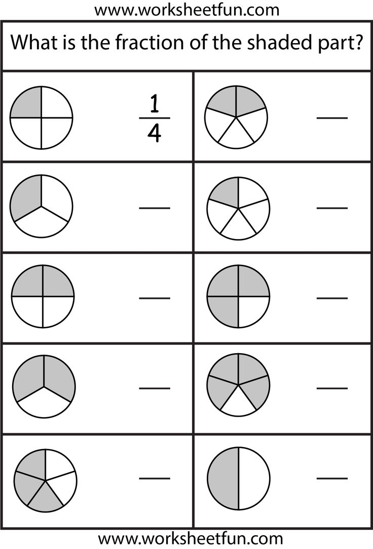 Fractions – 4 Worksheets / www.worksheetfun.com