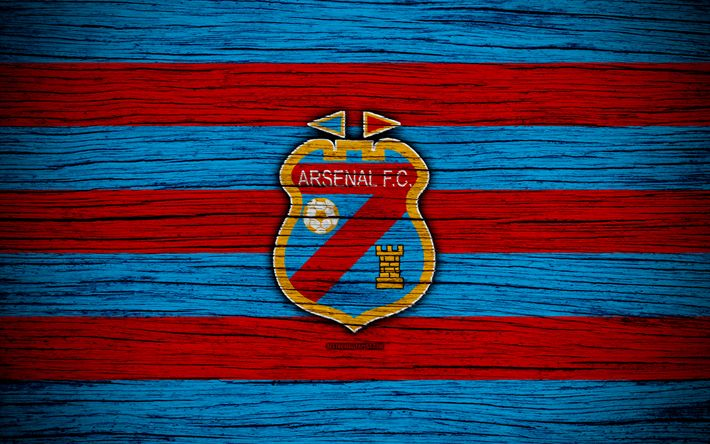 Download wallpapers Arsenal Sarandi, 4k, Superliga, logo, AAAJ, Argentina, soccer, Arsenal Sarandi FC, football club, wooden texture, FC Arsenal Sarandi