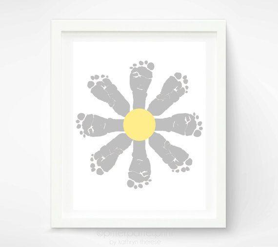 Daisy Baby Footprint Art - Yellow and Gray Nursery Art - Baby Girl Nursery Art Print - Flower Kids Wall Art -  Personalized Girls Room Ideas via Etsy
