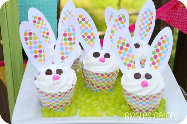 Adorable bunny cupcakes at an Easter party!   See more party ideas at CatchMyParty.com!