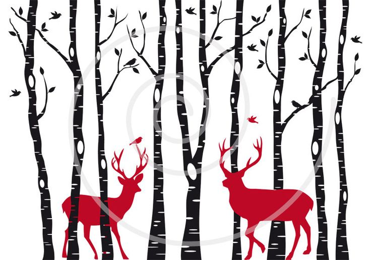 Christmas card, birch trees with reindeer, digital clipart