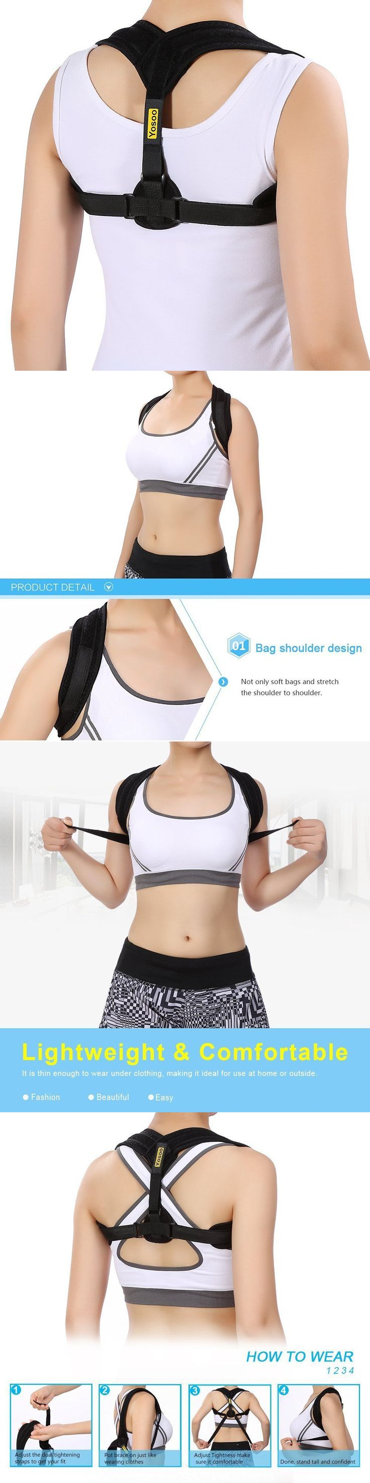 Orthotics Braces and Sleeves: Posture Back Shoulder Corrector Therapy Adjustable Support Brace For Women Men BUY IT NOW ONLY: $35.45
