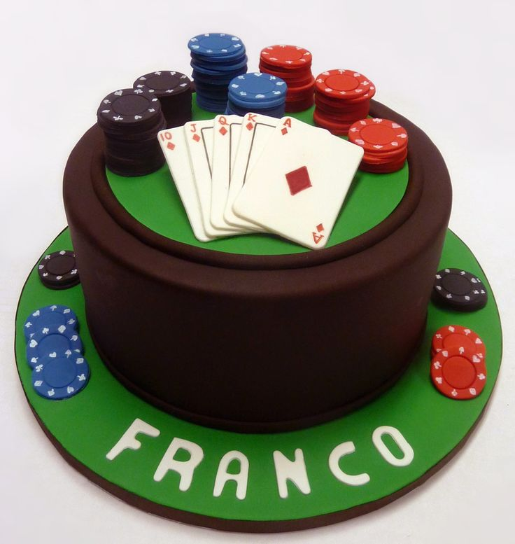 Poker cake for a Texas Hold-Em lover. Chips and cards are handpainted gumpaste.