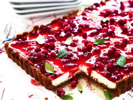 Pepparkakscheesecake med lingon | Recept.nu