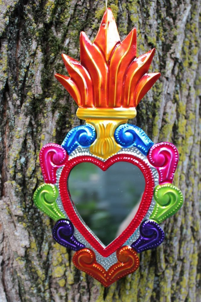 Colorful mexican tin heart milagro ornament mirror love for Oaxaca mexico arts and crafts