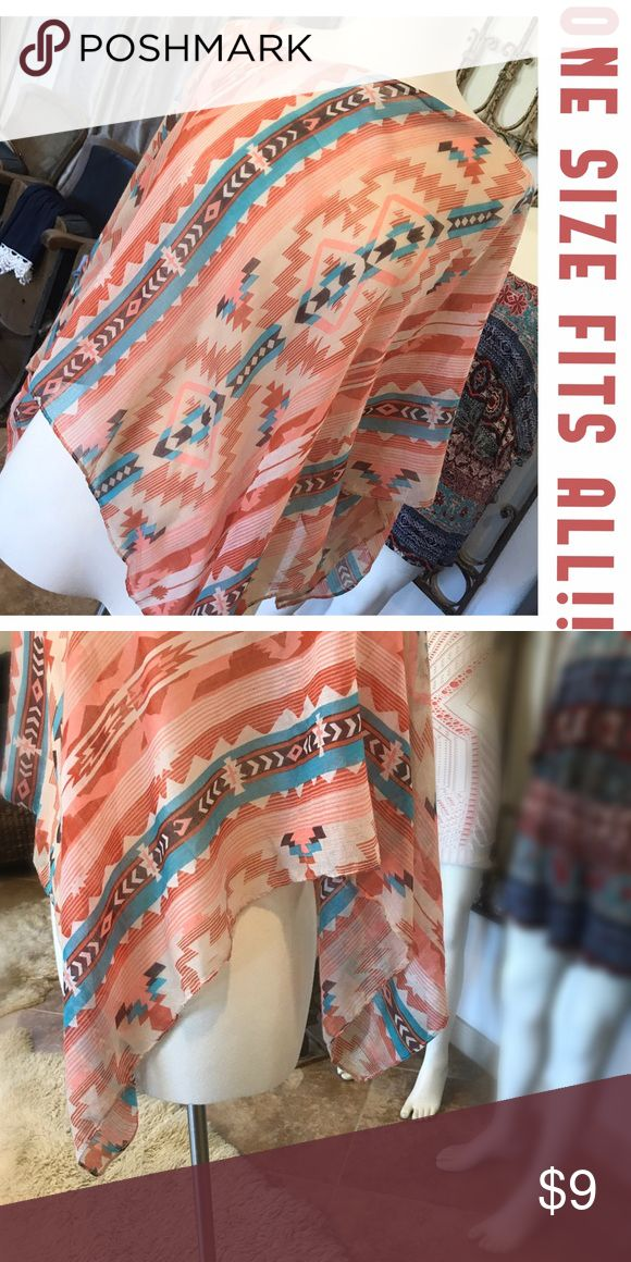 🔆 Aztec southwestern shawl 🔆 Light and sheer, this top can be worn at the beach as a cover up, a complementary top over a tank, or an additional layer in a chilly restaurant. Versitle and chic, it fits perfectly in your purse for an on-demand fashion accessory. Tops