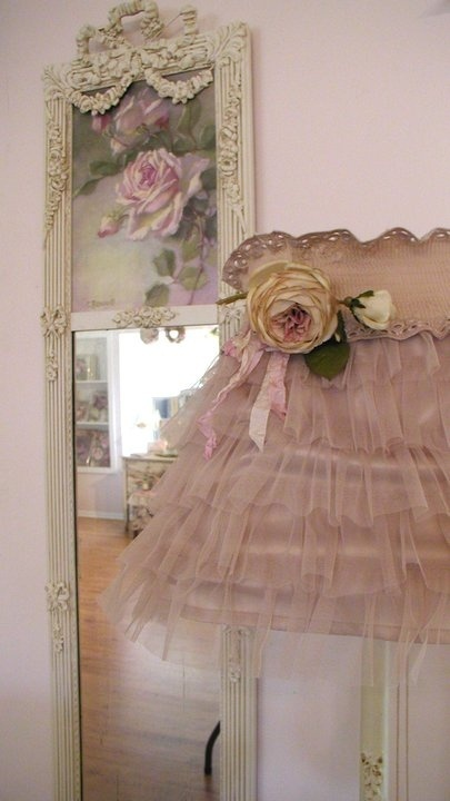 Shabby Chic Ruffle Lamp  I wonder how hard it would be to make this!                                                                                                                                                                                 More