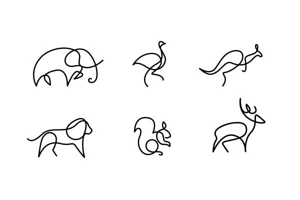 Single Line Drawings Of Animals : One line animal logos kreativ und französisch