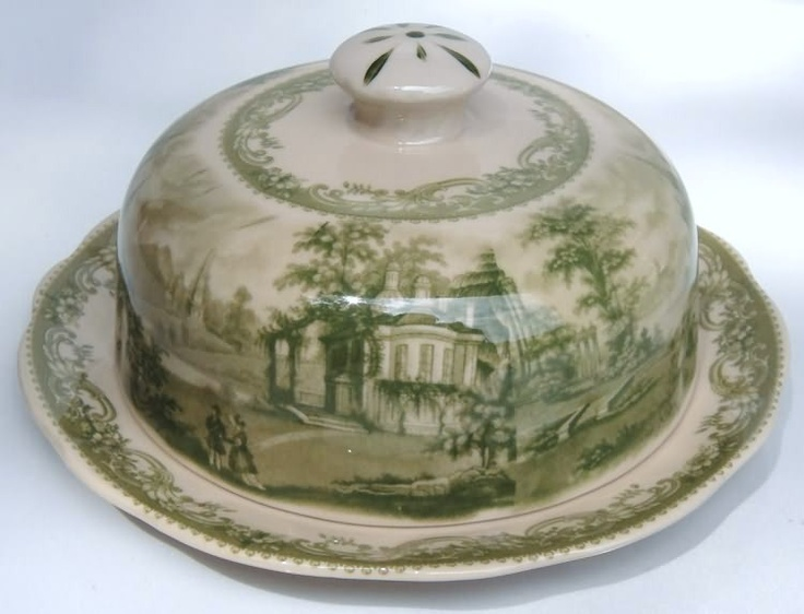 Green Transferware Large Covered Butter Porcelain Toile Cheese Dish | eBay