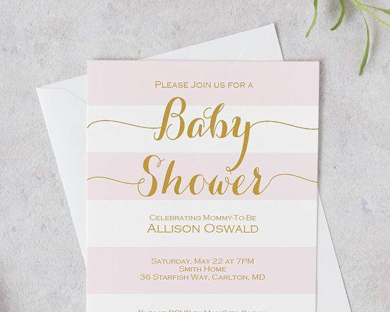 Blush Pink Striped Baby Shower Invitation Printable  Baby