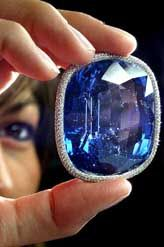 The Blue Giant of the Orient, a rectangular-cut world's largest faceted Kashmir sapphire of 486.52 carat, is displayed at Christie's headquarters in Geneva on Wednesday. The sapphire will be up for auction on May 19 and is estimated to sell between $10,00,000 and 15,00,000