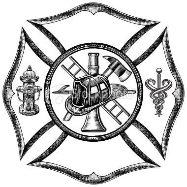 Fire Department Symbol - Retro Style Royalty Free Stock Vector Art Illustration