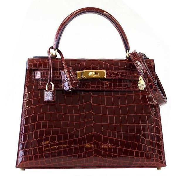 Hermes Kelly 28 Bag Sellier Bourgogne Red Navy Contour Crocodile Gold... (£45,740) ❤ liked on Polyvore featuring bags, handbags, navy purse, red handbags, hermès, hermes handbags and navy handbags
