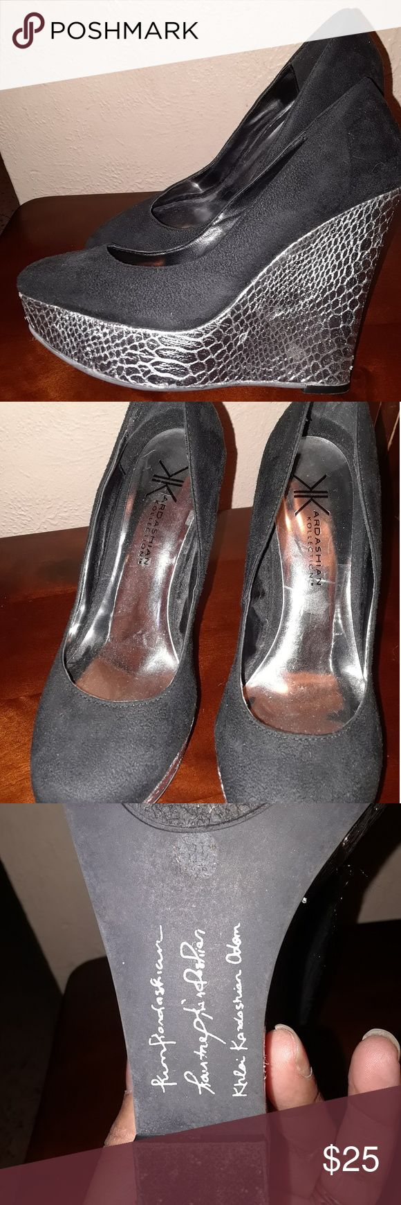 Kardashian kollection Wedge Heels Black & Silver wedge heels, very comfortable & classy. Still in great condition Kardashian Kollection Shoes Heels