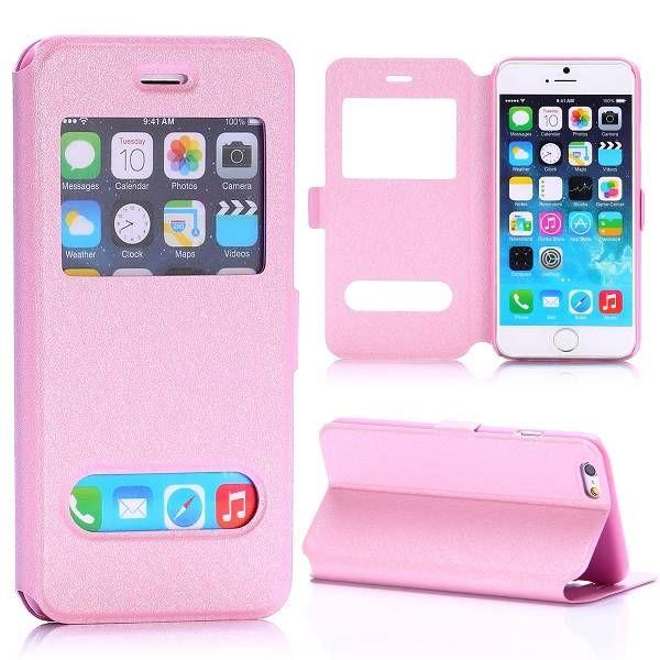 Roze sideflip hoes met display opening voor iPhone 6