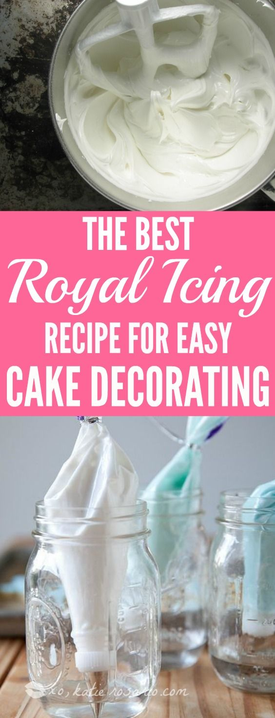 Cake Decorating 101 Royal Icing: This hands down is the BEST royal icing recipe! It is so easy with just 2 ingredients, I can make this anytime and I love that! I love this recipe because for bakers who love to decorate sugar cookies and cakes. Royal Icing is the best edible glue for cake decorating! For sure saving for later!