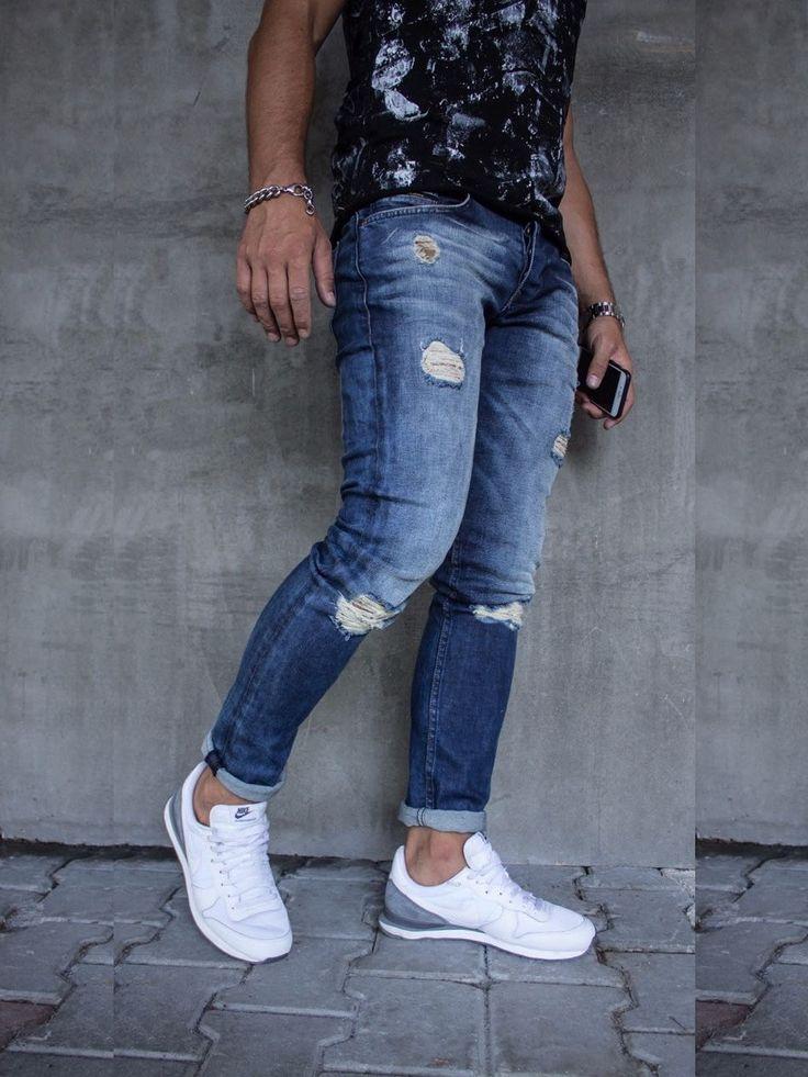 P&V Men Slim Fit Stu Ripped Distressed Jeans - Blue