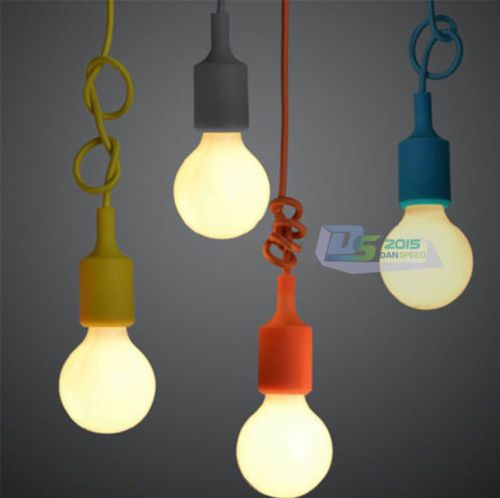 Silicone-E27-Home-Ceiling-Pendant-Lamp-Light-Bulb-Holder-Hanging-Fixture-Colors