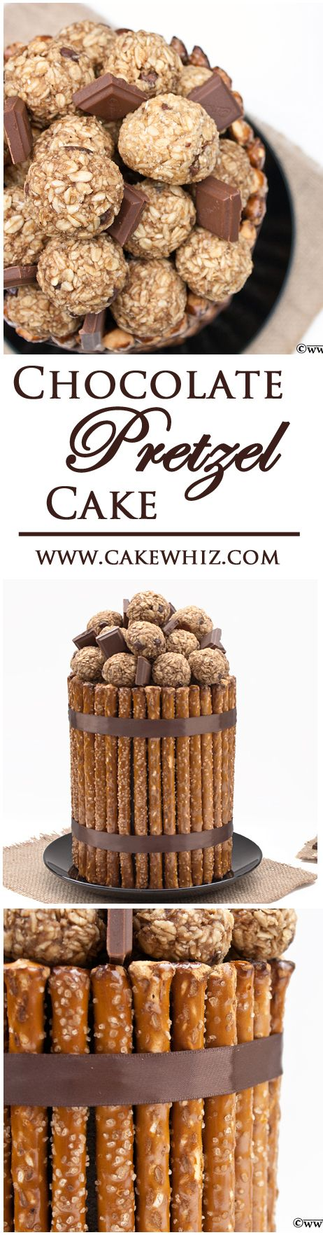 PRETZEL CAKE .... An awesome chocolate cake covered in pretzel rods, topped off with delicious choco peanut butter balls and chocolate chunks! From cakewhiz.com