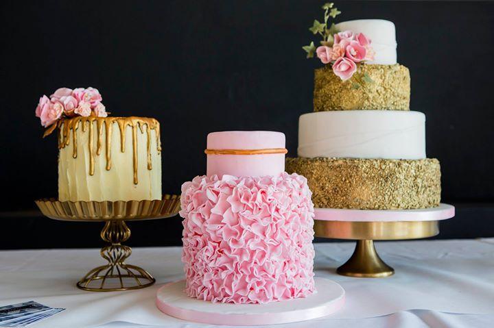 Bruidstaarten roze en goud