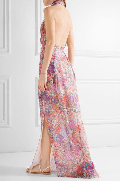 Matthew Williamson - Printed Silk-chiffon Halterneck Gown - Lavender - UK