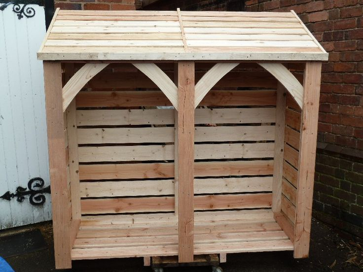 Wood Log Store 6' x 6' slats let air through to enable drying. Roof over hangs and has internal waterproof membrane