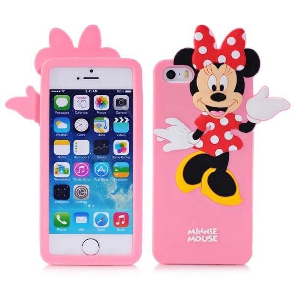 best service 3c875 8a2f0 3D cute cartoon minnie mouse silicone case For iPhone 5-5s ( Pink ...