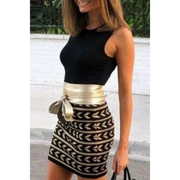 Sexy Golden Belt Spliced Geometric Printed Bodycon Dress For Women