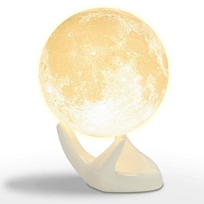 Mydethun Lamp Moon Night Light For Kids Gift For Women Usb Charging And Touch Control Brightness 3d Printed Warm And Cool Whit Moon Light Lamp Lamp Night Light