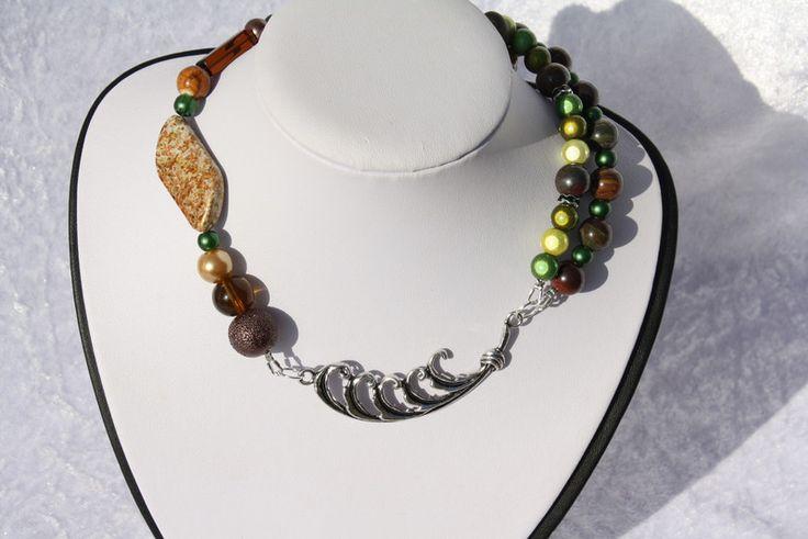 Ketten kurz - Kette silber grün braun zweireihig Collier - ein Designerstück von trixies-zauberhafte-Welten bei DaWanda