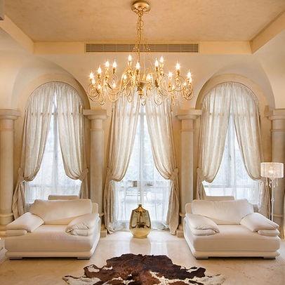 living room Palladium window treatments