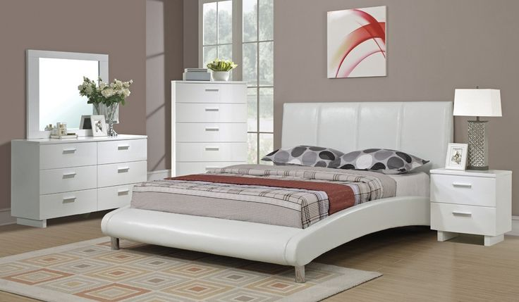 August Platform White Leather Bed $279