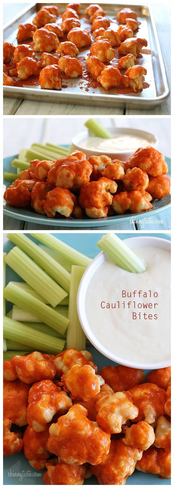 Spicy Buffalo Cauliflower Bites. Will need to try this out (replacing the flour with Almond Meal)