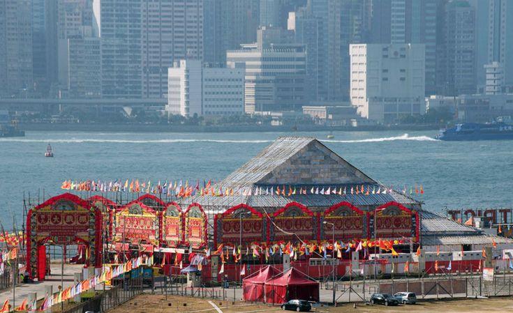 west kowloon cultural district unveils pop-up bamboo theatre - designboom | architecture & design magazine