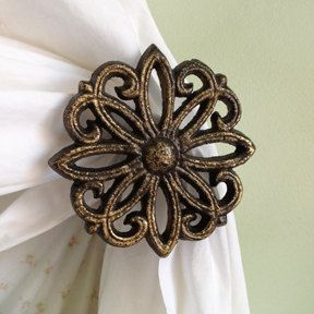 Set of 2, Curtain Tie backs, Curtain Hold backs, Cast Iron, Antiqued Bronze, Black distressed Gold, Shabby Chic