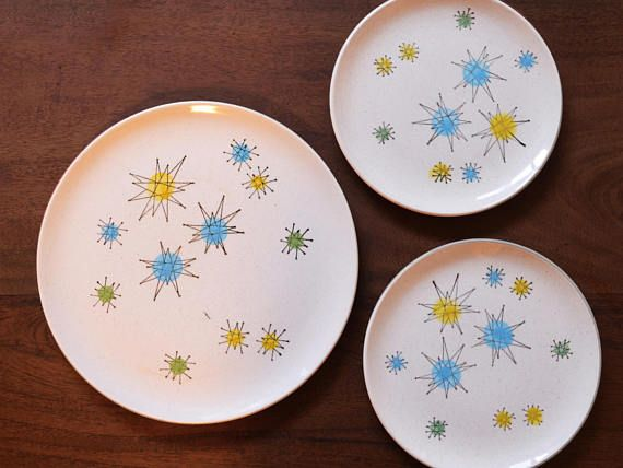 Mid century atomis plates Hey, I found this really awesome Etsy listing at https://www.etsy.com/ca/listing/522196540/vintage-les-etoiles-starburst-dinner