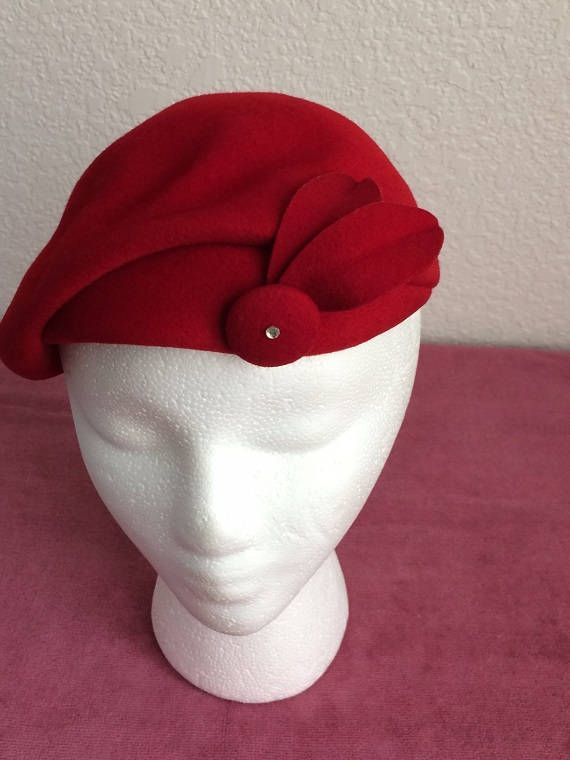 "See what people are saying! ★★★★★ ""Beautiful hat. Arrived in excellent condition and was carefully packaged -- it even came in a hat box! Thank you very much"" Jill http://etsy.me/2H7gy3h #etsy #accessories #hat #red #lovelifeincolor #vintage"